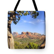 Cathedral Rock Framed By Juniper In Sedona Arizona Tote Bag