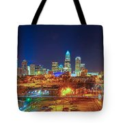 Charlotte City Skyline Night Scene Tote Bag