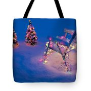 Christmas Lights On Trees And Lawn Chair Tote Bag
