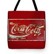 Coca Cola Sign Cracked Paint Tote Bag