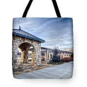 Cultured Stone Terrace Trellis Details Near Park In A City  Tote Bag