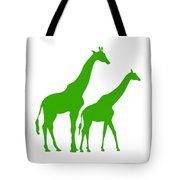 Giraffe In Green And White Tote Bag