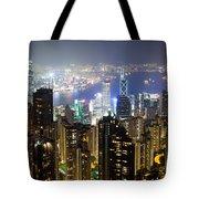 Hong Kong Harbor From Victoria Peak At Night Tote Bag