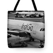 Indigo Aircraft Getting Ready In Changi Airport Tote Bag