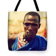 Maasai Man Portrait In Tanzania Tote Bag