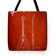 Mccarty Gibson Electric Guitar Patent Drawing From 1958 - Red Tote Bag by Aged Pixel