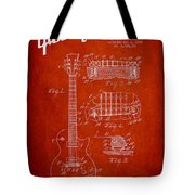 Mccarty Gibson Les Paul Guitar Patent Drawing From 1955 - Red Tote Bag