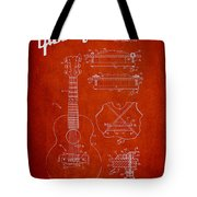 Mccarty Gibson Stringed Instrument Patent Drawing From 1969 - Red Tote Bag by Aged Pixel