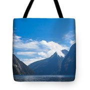 Milford Sound And Mitre Peak In Fjordland Np Nz Tote Bag