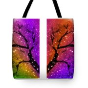 4-panel Snow On The Colorful Cherry Blossom Trees Tote Bag