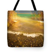 Rainbow And Dark Clouds Over Large Lake Tote Bag