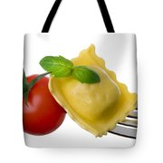 Ravioli Pasta Tomato And Basil On Fork Against White Background Tote Bag