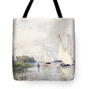 Regatta At Argenteuil Tote Bag by Claude Monet