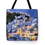 Serifos Town During Dusk Time Tote Bag
