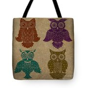 4 Sophisticated Owls Colored Tote Bag