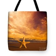 Starfish On The Beach At Sunset Tote Bag