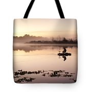 Sunrise In Fog Lake Cassidy With Fishermen In Small Fishing Boat Tote Bag
