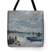 The Beach At Sainte-adresse Tote Bag