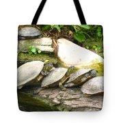 4 Turtles On A Log Tote Bag