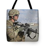 U.s. Army Specialist Provides Security Tote Bag