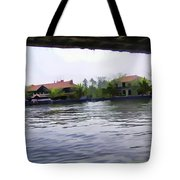 View Of Lake Resort Framed From The Top Of A Houseboat Tote Bag