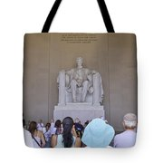 Visitors At The Lincoln Memorial Tote Bag