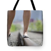 Walking On Railroad Tracks Tote Bag