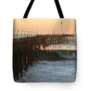Ocean Wave Storm Pier Tote Bag