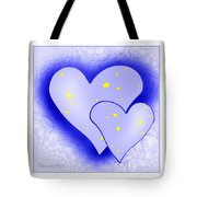 457 - Two Hearts Blue Tote Bag