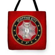 4th Degree - Secret Master Or Master Traveler Jewel On Red Leather Tote Bag
