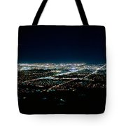 Aerial View Of A City Lit Up At Night Tote Bag