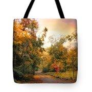 Autumn's Sunset Path Tote Bag