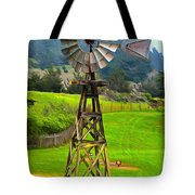 Painting San Simeon Pines Windmill Tote Bag