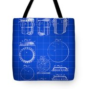 Bottle Cap Patent 1892 - Blue Tote Bag
