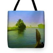 Captain Of The Houseboat Surveying Canal Tote Bag