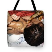 5 Day Old Indian Baby Getting A Light Massage Using Mustard Oil Tote Bag