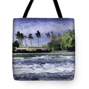 Digital Oil Painting - A Houseboat On Its Quiet Sojourn Through The Backwaters Tote Bag