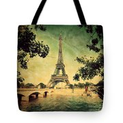 Eiffel Tower And Bridge On Seine River In Paris Tote Bag