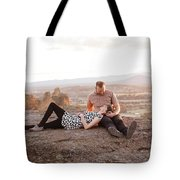 Engaged Couple At Smith Rock In Oregon Tote Bag