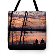 Fly Fishing At Sunset Tote Bag