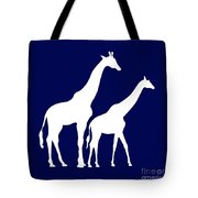 Giraffe In Navy And White Tote Bag