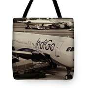 Indigo Aircraft Getting Ready In Changi Airport Tote Bag