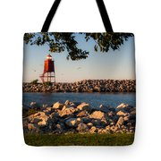 Lighthouse In Lake Michigan Nature Scenary Near Racine Wisconsin Tote Bag