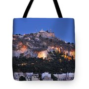 Lycabettus Hill During Dusk Time Tote Bag