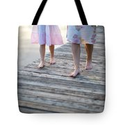 Mother And Daughter On A Wooden Board Walk Tote Bag