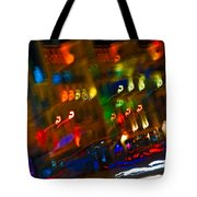 Moving Fast In The Town At Night  Tote Bag