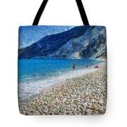 Myrtos Beach In Kefallonia Island Tote Bag