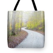 Road Passing Through A Forest Tote Bag