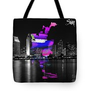 San Diego California Map And Skyline Tote Bag