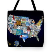 The Usa License Tag Map Tote Bag